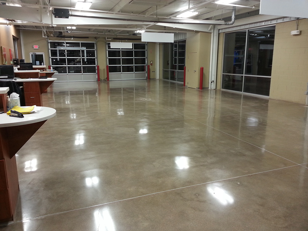 Car service center polished concrete floor for Concrete flooring service