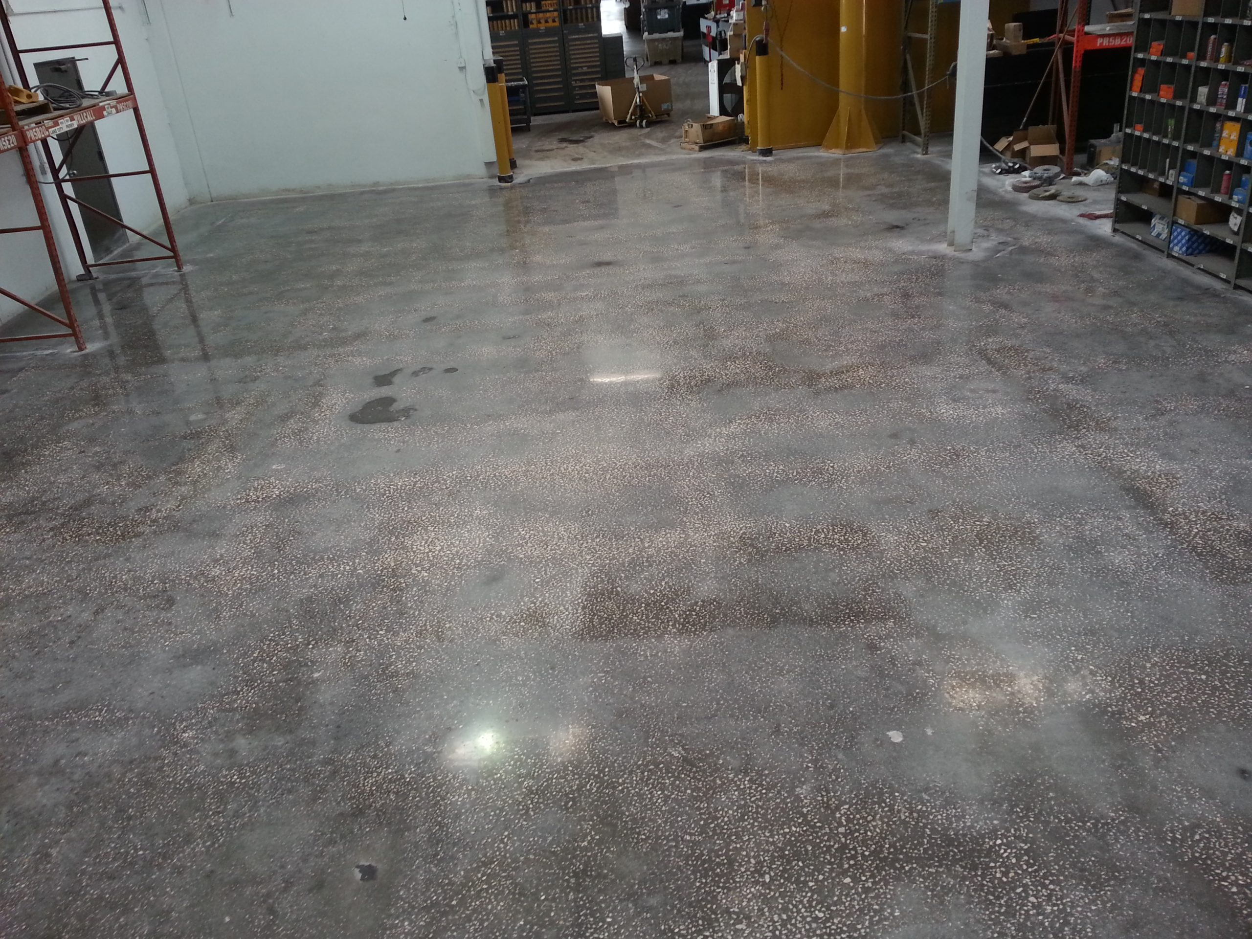 Grind Metal Flake Concrete Floor Cat Tractor Garage