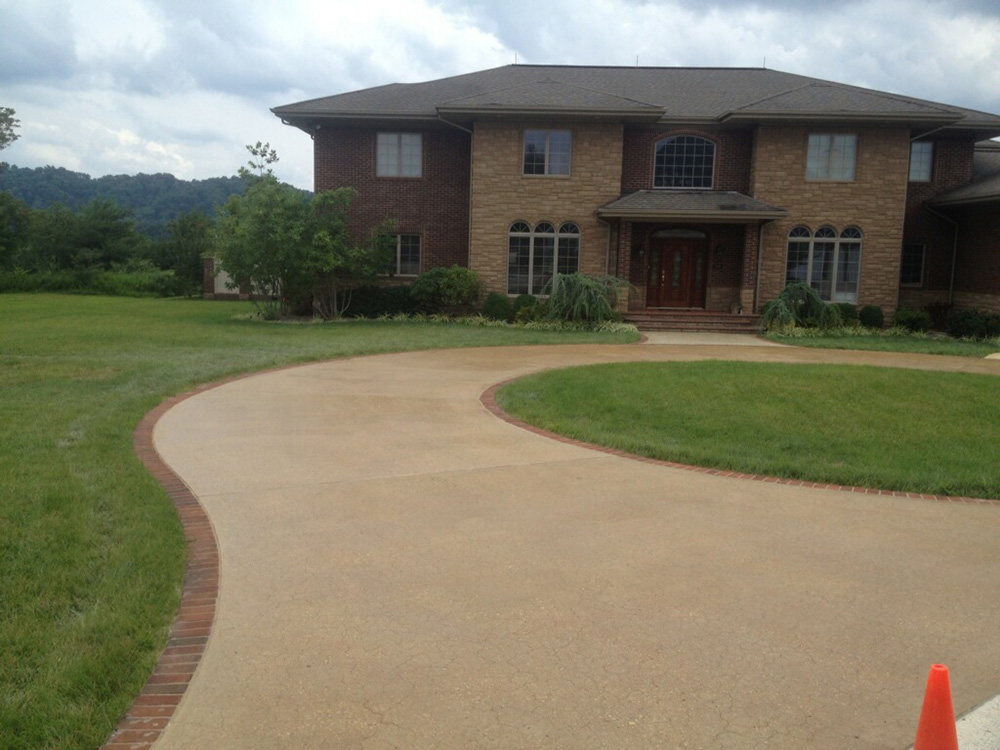 Turn Around Driveway Stained And Polished Concrete