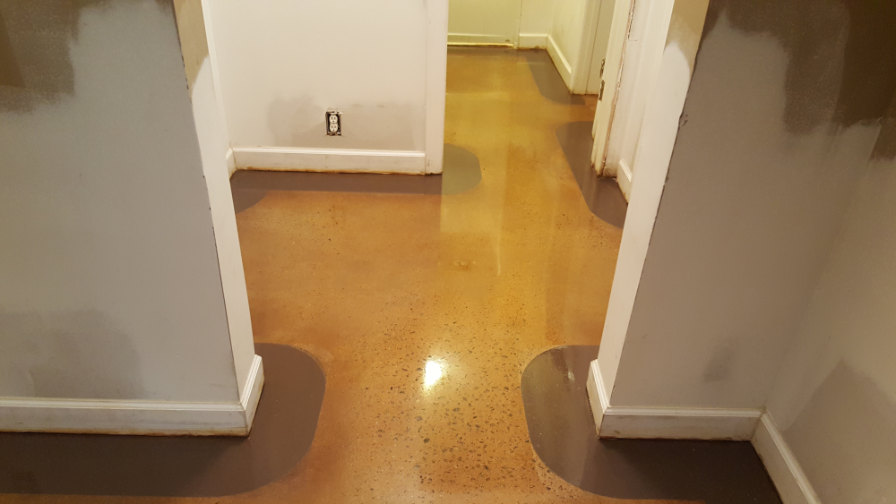 Stained concrete floor with 4 inch border in atlanta for Best wax for stained concrete floors