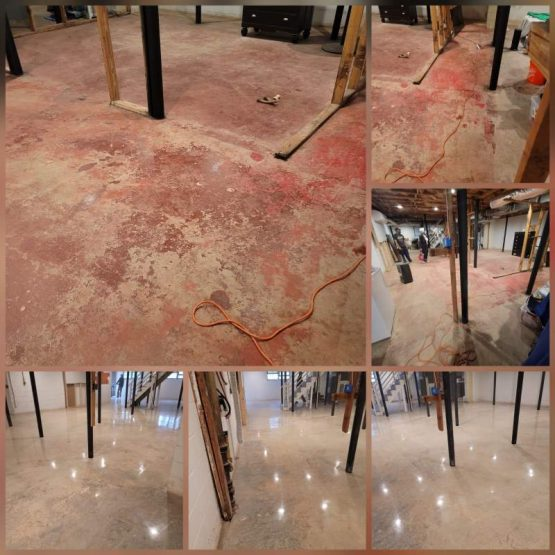 Atlanta, GA Basement Remove Red Paint Grind And Polished Concrete